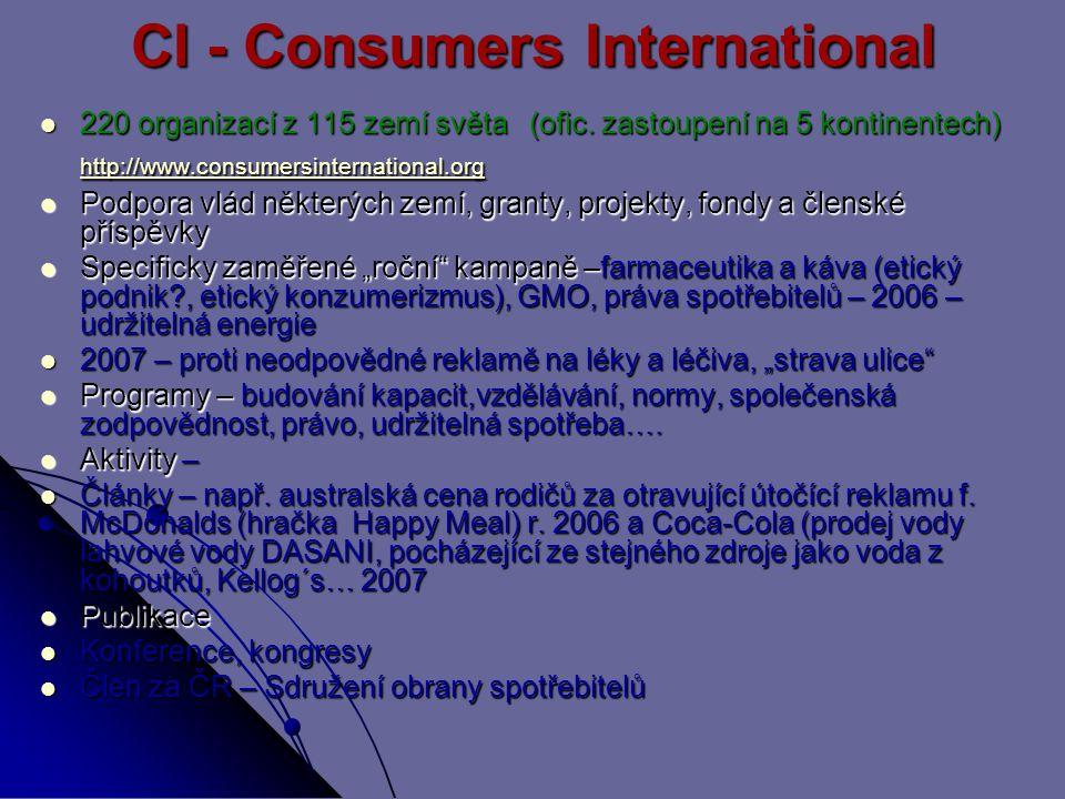 CI - Consumers International 220 organizací z 115 zemí světa (ofic.