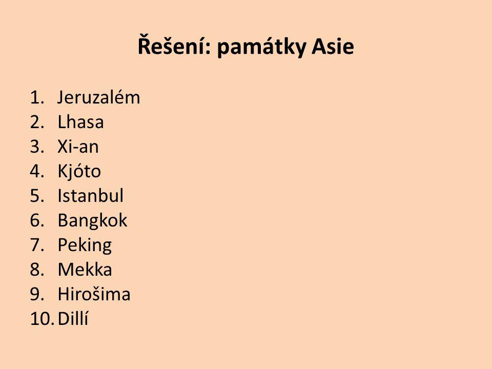 Řešení: památky Asie 1.Jeruzalém 2.Lhasa 3.Xi-an 4.Kjóto 5.Istanbul 6.Bangkok 7.Peking 8.Mekka 9.Hirošima 10.Dillí