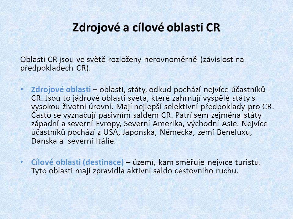 Zdrojové a cílové oblasti CR Oblasti CR jsou ve světě rozloženy nerovnoměrně (závislost na předpokladech CR). Zdrojové oblasti – oblasti, státy, odkud