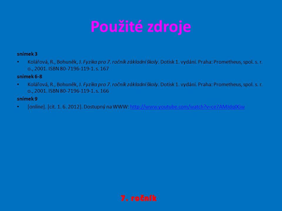 Použité zdroje snímek 3 Kolářová, R., Bohuněk, J. Fyzika pro 7. ročník základní školy. Dotisk 1. vydání. Praha: Prometheus, spol. s. r. o., 2001. ISBN