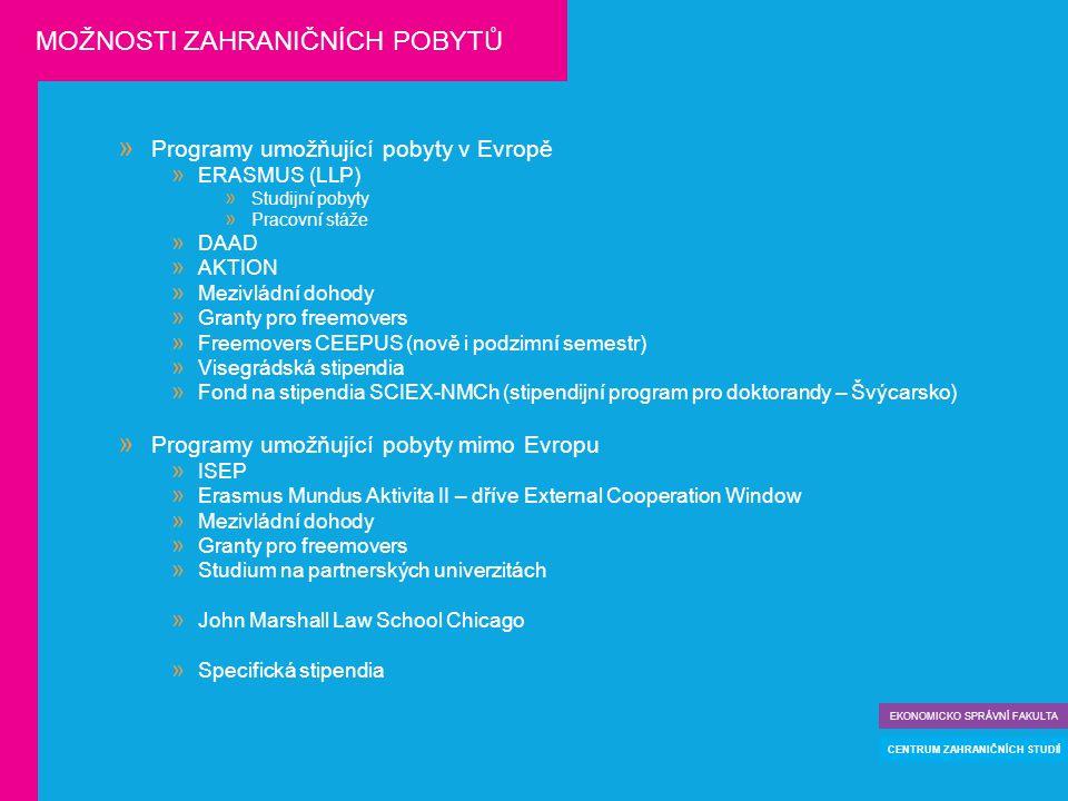  Programy umožňující pobyty v Evropě  ERASMUS (LLP)  Studijní pobyty  Pracovní stáže  DAAD  AKTION  Mezivládní dohody  Granty pro freemovers  Freemovers CEEPUS (nově i podzimní semestr)  Visegrádská stipendia  Fond na stipendia SCIEX-NMCh (stipendijní program pro doktorandy – Švýcarsko)  Programy umožňující pobyty mimo Evropu  ISEP  Erasmus Mundus Aktivita II – dříve External Cooperation Window  Mezivládní dohody  Granty pro freemovers  Studium na partnerských univerzitách  John Marshall Law School Chicago  Specifická stipendia EKONOMICKO SPRÁVNÍ FAKULTA CENTRUM ZAHRANIČNÍCH STUDIÍ MOŽNOSTI ZAHRANIČNÍCH POBYTŮ