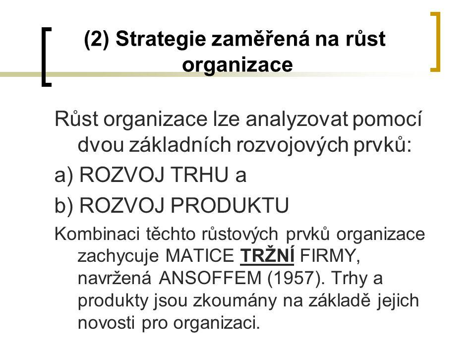 (2) Strategie zaměřená na růst organizace Růst organizace lze analyzovat pomocí dvou základních rozvojových prvků: a) ROZVOJ TRHU a b) ROZVOJ PRODUKTU