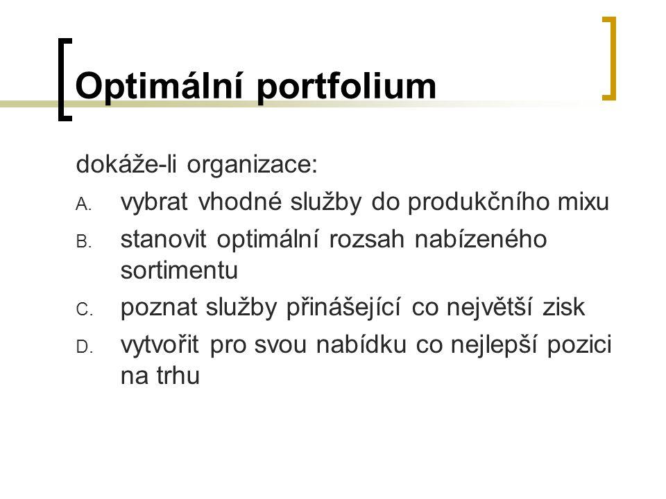 Optimální portfolium dokáže-li organizace: A. vybrat vhodné služby do produkčního mixu B. stanovit optimální rozsah nabízeného sortimentu C. poznat sl