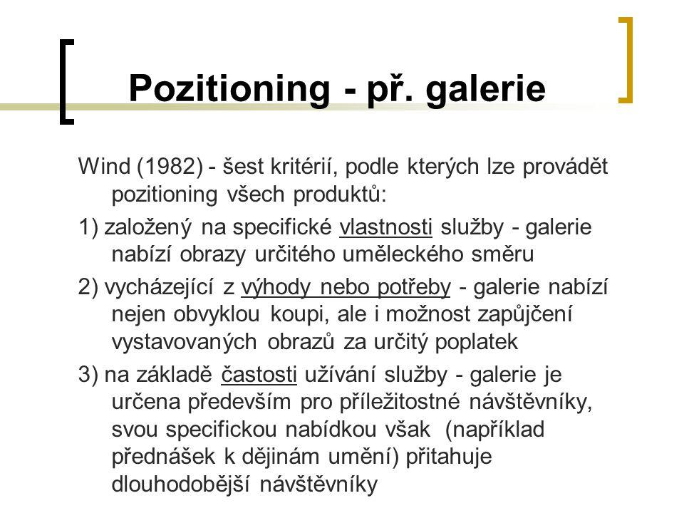 Pozitioning - př. galerie Wind (1982) - šest kritérií, podle kterých lze provádět pozitioning všech produktů: 1) založený na specifické vlastnosti slu