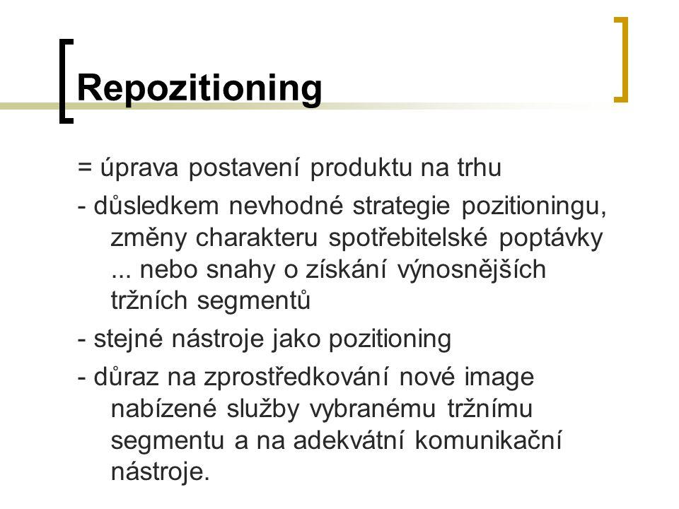 Repozitioning = úprava postavení produktu na trhu - důsledkem nevhodné strategie pozitioningu, změny charakteru spotřebitelské poptávky... nebo snahy