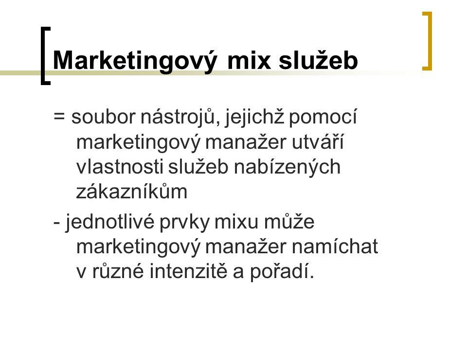 Marketingový mix služeb = soubor nástrojů, jejichž pomocí marketingový manažer utváří vlastnosti služeb nabízených zákazníkům - jednotlivé prvky mixu