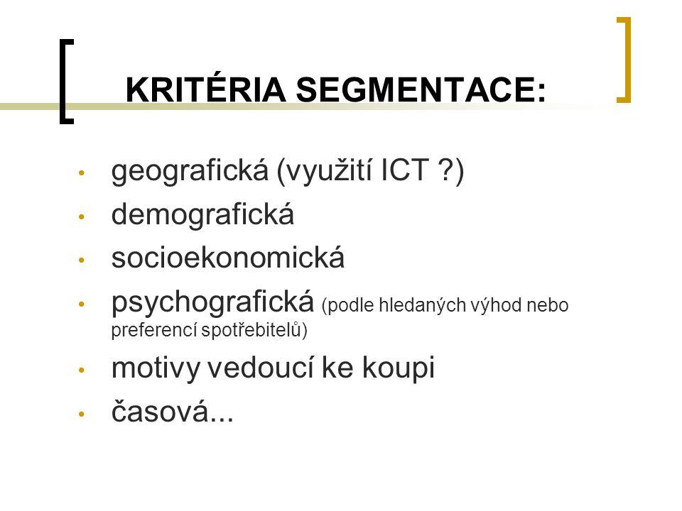 KRITÉRIA SEGMENTACE: geografická (využití ICT ?) demografická socioekonomická psychografická (podle hledaných výhod nebo preferencí spotřebitelů) moti