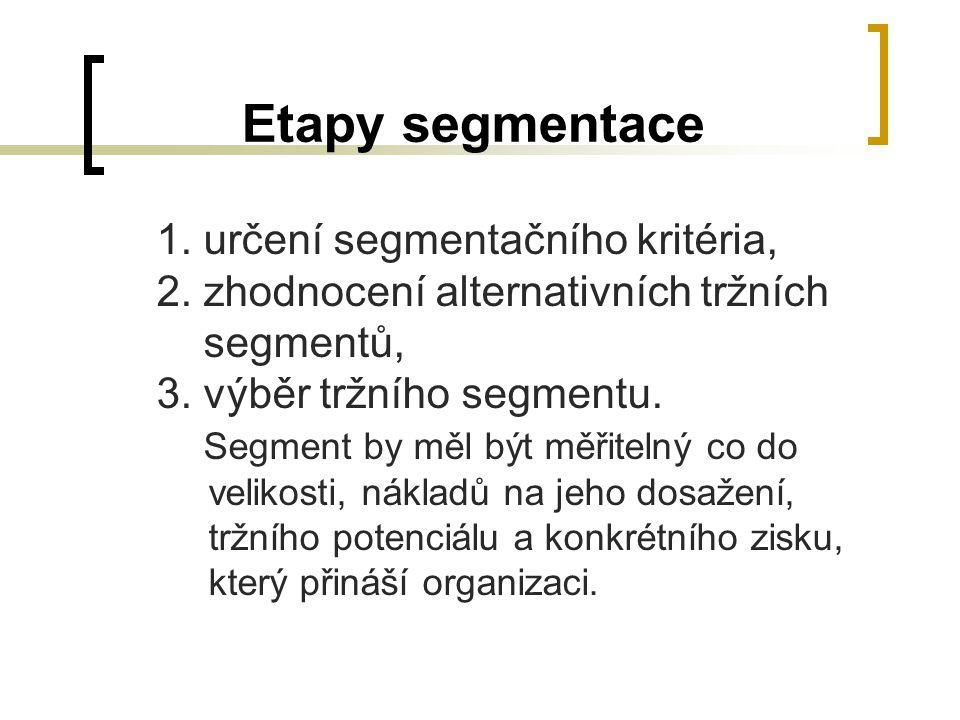 Etapy segmentace 1. určení segmentačního kritéria, 2. zhodnocení alternativních tržních segmentů, 3. výběr tržního segmentu. Segment by měl být měřite