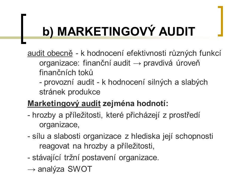 b) MARKETINGOVÝ AUDIT audit obecně - k hodnocení efektivnosti různých funkcí organizace: finanční audit → pravdivá úroveň finančních toků - provozní a