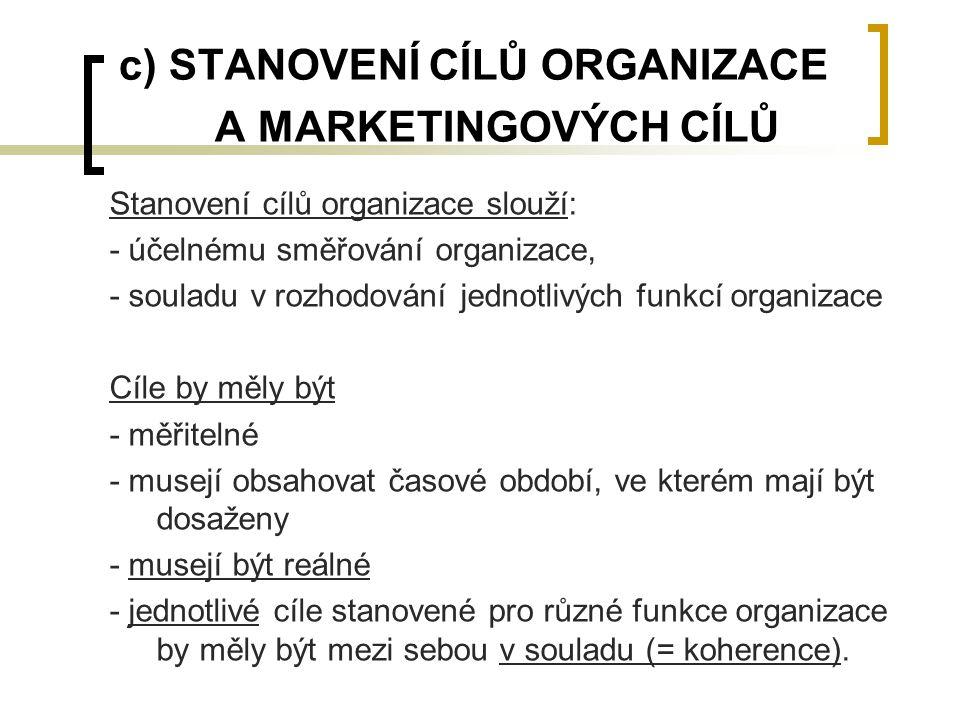 c) STANOVENÍ CÍLŮ ORGANIZACE A MARKETINGOVÝCH CÍLŮ Stanovení cílů organizace slouží: - účelnému směřování organizace, - souladu v rozhodování jednotli