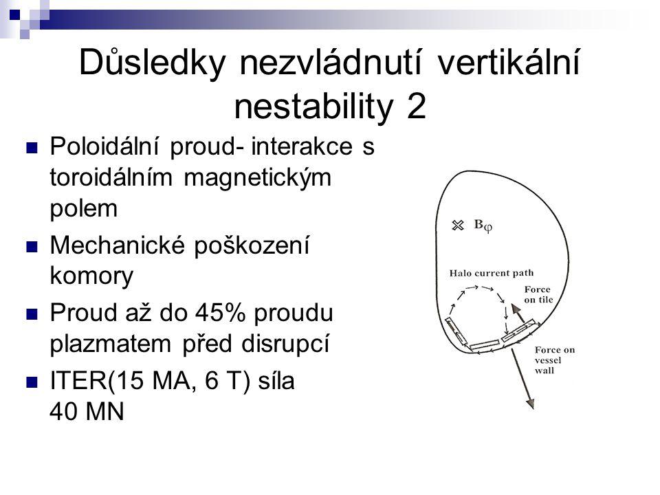 Důsledky nezvládnutí vertikální nestability 2 Poloidální proud- interakce s toroidálním magnetickým polem Mechanické poškození komory Proud až do 45% proudu plazmatem před disrupcí ITER(15 MA, 6 T) síla 40 MN