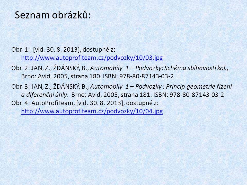 Seznam obrázků: Obr. 1: [vid. 30. 8. 2013], dostupné z: http://www.autoprofiteam.cz/podvozky/10/03.jpg http://www.autoprofiteam.cz/podvozky/10/03.jpg