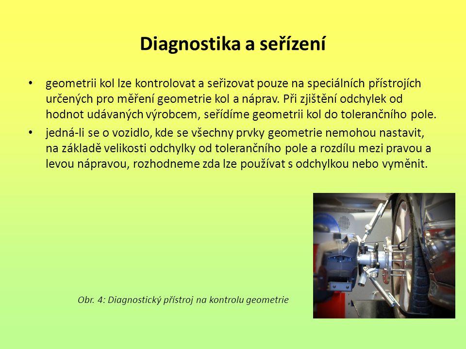 Diagnostika a seřízení geometrii kol lze kontrolovat a seřizovat pouze na speciálních přístrojích určených pro měření geometrie kol a náprav. Při zjiš