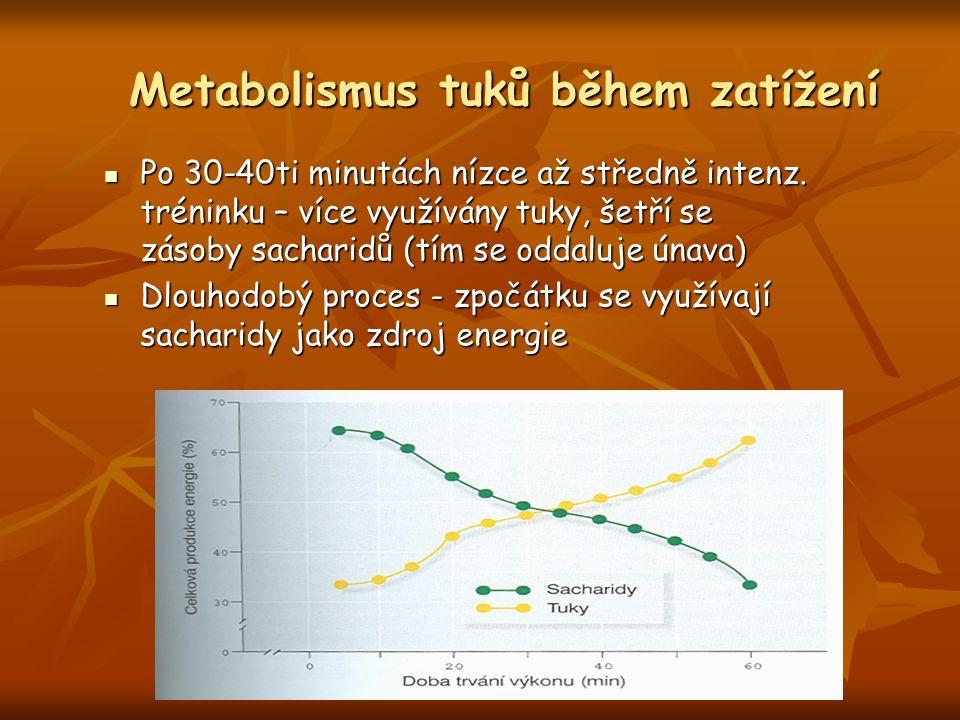 Po 30-40ti minutách nízce až středně intenz. tréninku – více využívány tuky, šetří se zásoby sacharidů (tím se oddaluje únava) Po 30-40ti minutách níz