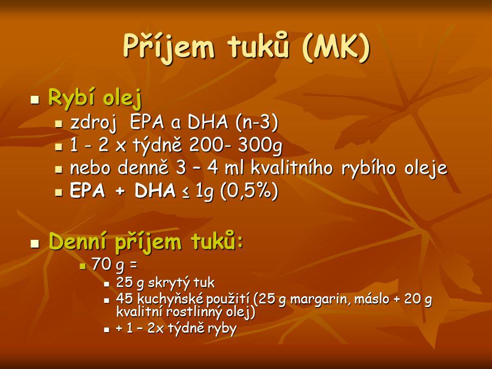 Příjem tuků (MK) Rybí olej Rybí olej zdroj EPA a DHA (n-3) zdroj EPA a DHA (n-3) 1 - 2 x týdně 200- 300g 1 - 2 x týdně 200- 300g nebo denně 3 – 4 ml k