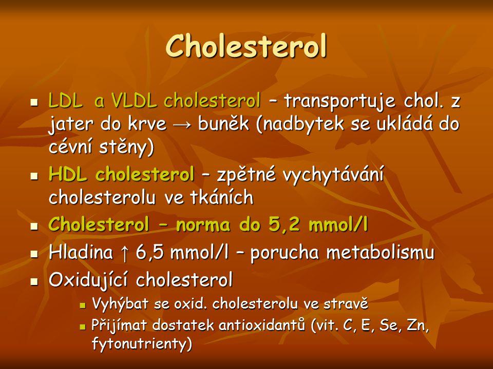 Cholesterol LDL a VLDL cholesterol – transportuje chol. z jater do krve → buněk (nadbytek se ukládá do cévní stěny) LDL a VLDL cholesterol – transport