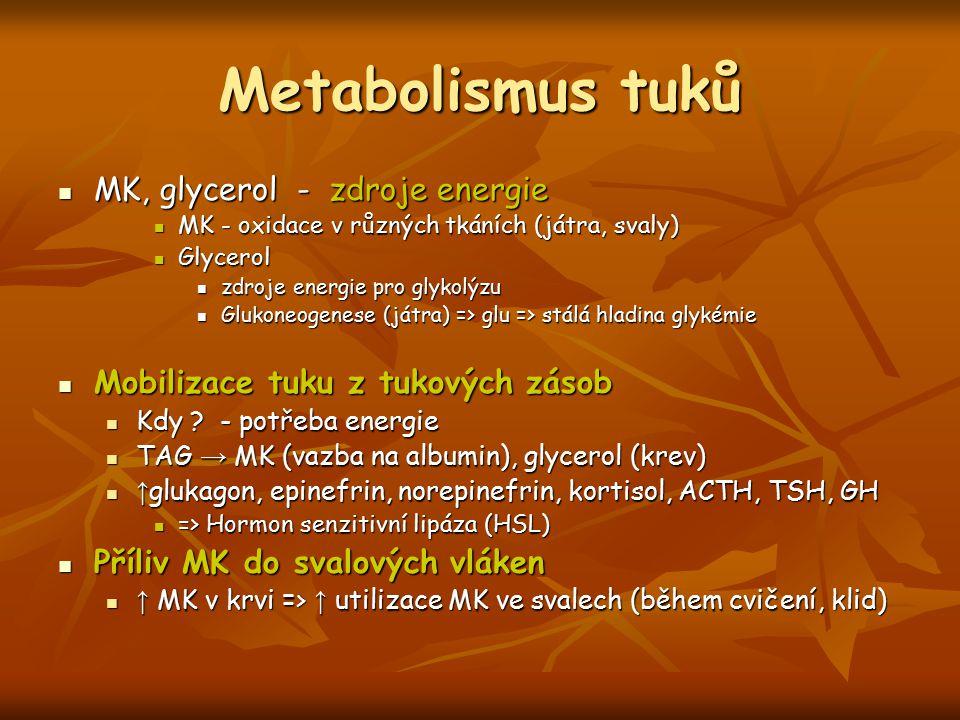 Metabolismus tuků MK, glycerol - zdroje energie MK, glycerol - zdroje energie MK - oxidace v různých tkáních (játra, svaly) MK - oxidace v různých tká