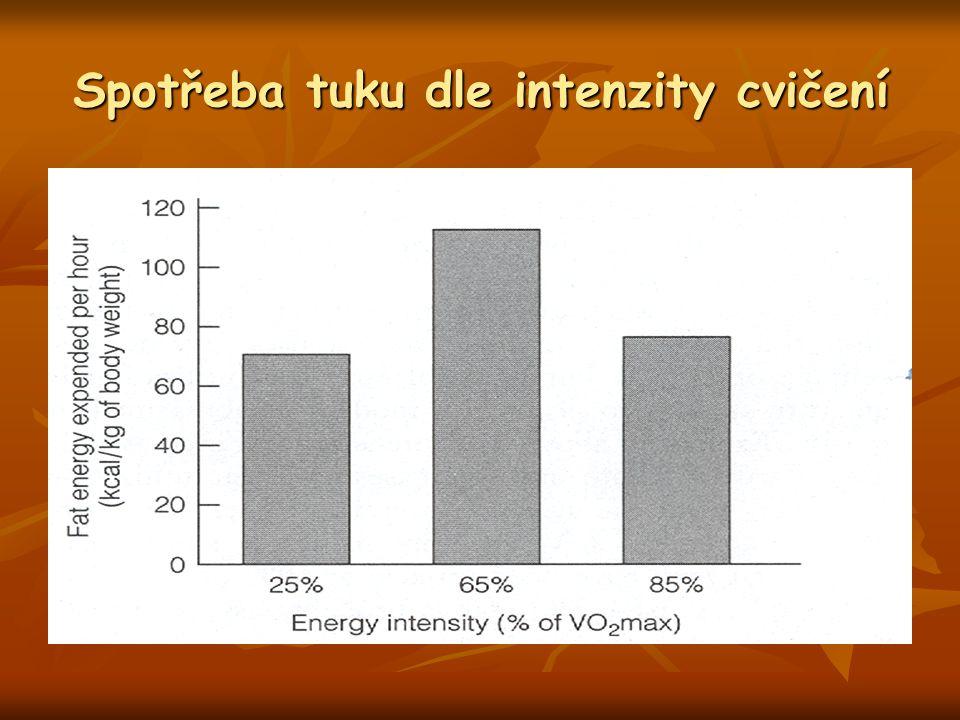 Spotřeba tuku dle intenzity cvičení