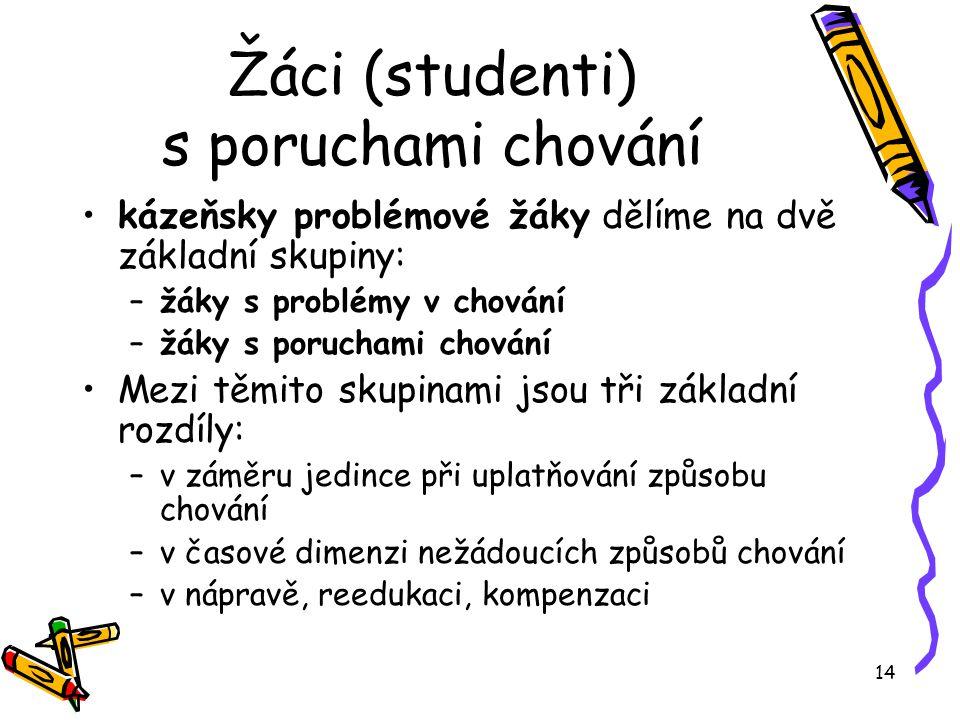 14 Žáci (studenti) s poruchami chování kázeňsky problémové žáky dělíme na dvě základní skupiny: –žáky s problémy v chování –žáky s poruchami chování M
