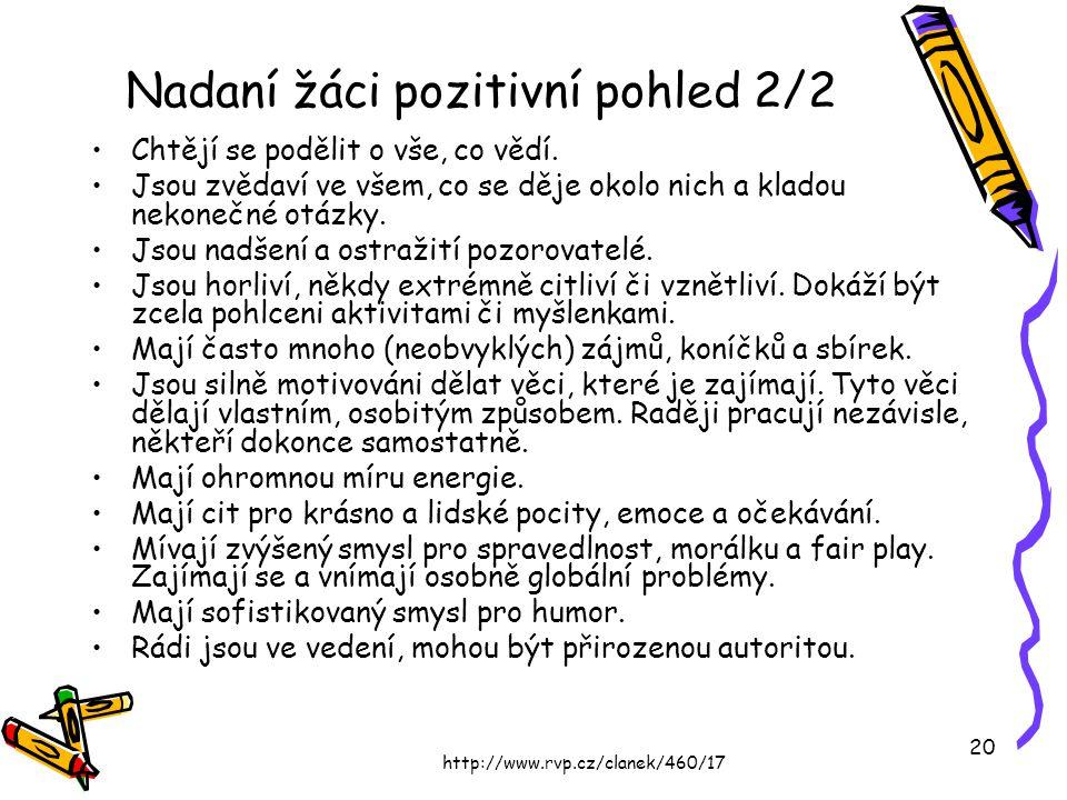 http://www.rvp.cz/clanek/460/17 20 Nadaní žáci pozitivní pohled 2/2 Chtějí se podělit o vše, co vědí. Jsou zvědaví ve všem, co se děje okolo nich a kl