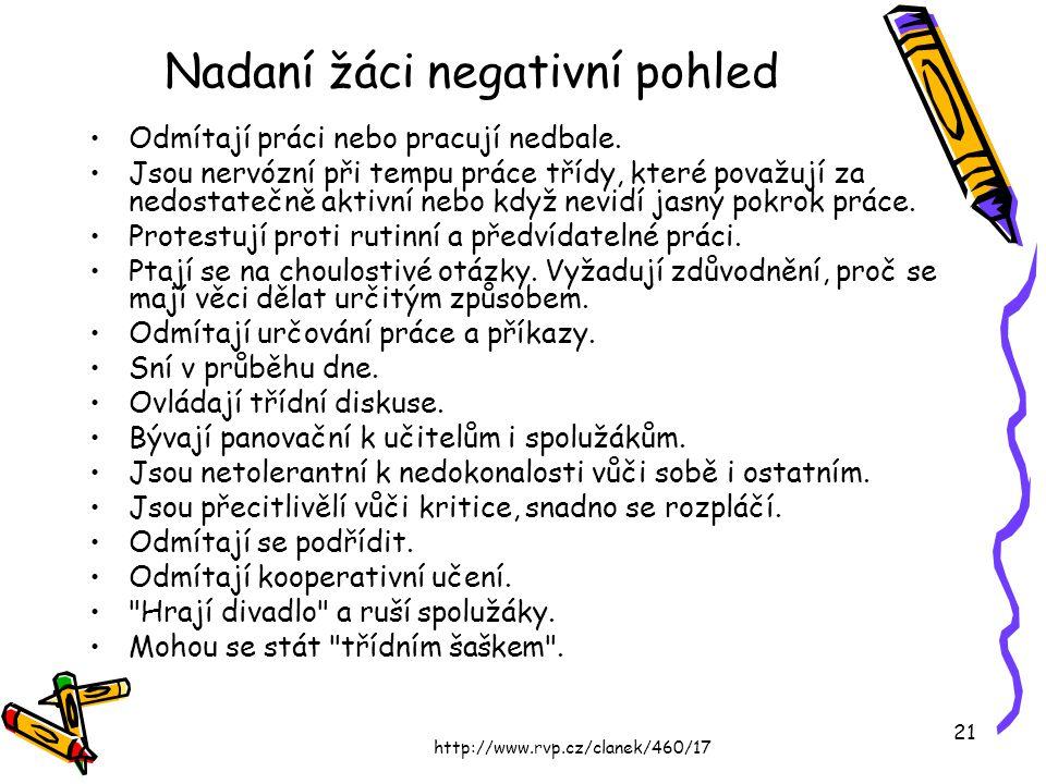 http://www.rvp.cz/clanek/460/17 21 Nadaní žáci negativní pohled Odmítají práci nebo pracují nedbale. Jsou nervózní při tempu práce třídy, které považu