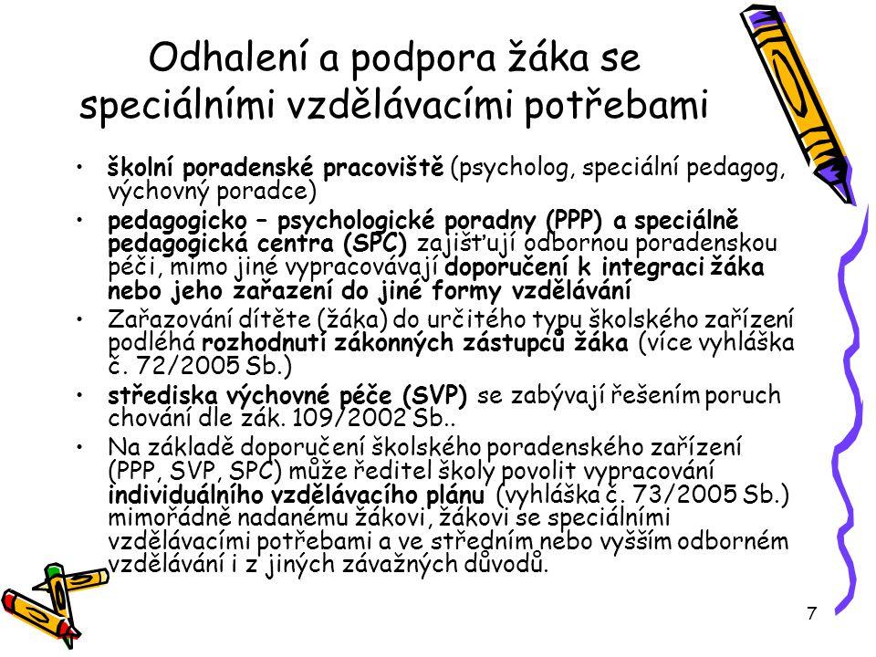7 Odhalení a podpora žáka se speciálními vzdělávacími potřebami školní poradenské pracoviště (psycholog, speciální pedagog, výchovný poradce) pedagogicko – psychologické poradny (PPP) a speciálně pedagogická centra (SPC) zajišťují odbornou poradenskou péči, mimo jiné vypracovávají doporučení k integraci žáka nebo jeho zařazení do jiné formy vzdělávání Zařazování dítěte (žáka) do určitého typu školského zařízení podléhá rozhodnutí zákonných zástupců žáka (více vyhláška č.
