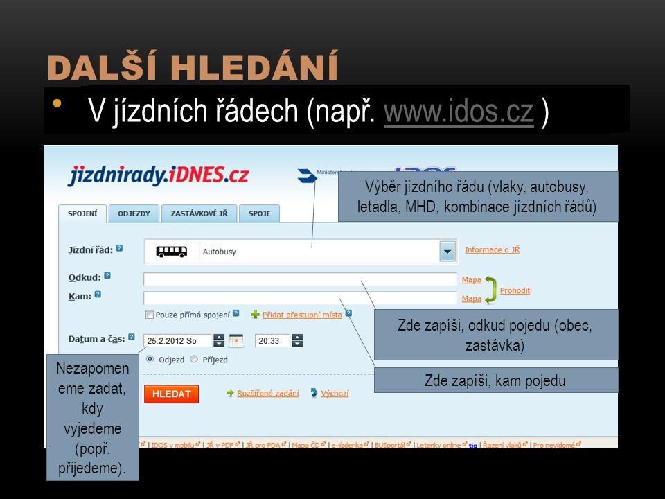 DALŠÍ HLEDÁNÍ V mapách (např. www.mapy.cz ) V encyklopediích (např.