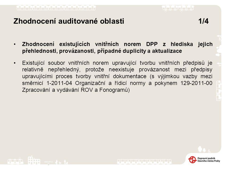 Zhodnocení auditované oblasti1/4 Zhodnocení existujících vnitřních norem DPP z hlediska jejich přehlednosti, provázanosti, případné duplicity a aktualizace Existující soubor vnitřních norem upravující tvorbu vnitřních předpisů je relativně nepřehledný, protože neexistuje provázanost mezi předpisy upravujícími proces tvorby vnitřní dokumentace (s výjimkou vazby mezi směrnicí 1-2011-04 Organizační a řídicí normy a pokynem 129-2011-00 Zpracování a vydávání ROV a Fonogramů)