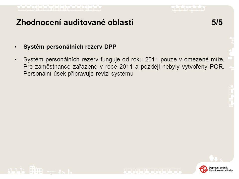 Zhodnocení auditované oblasti 5/5 Systém personálních rezerv DPP Systém personálních rezerv funguje od roku 2011 pouze v omezené míře.