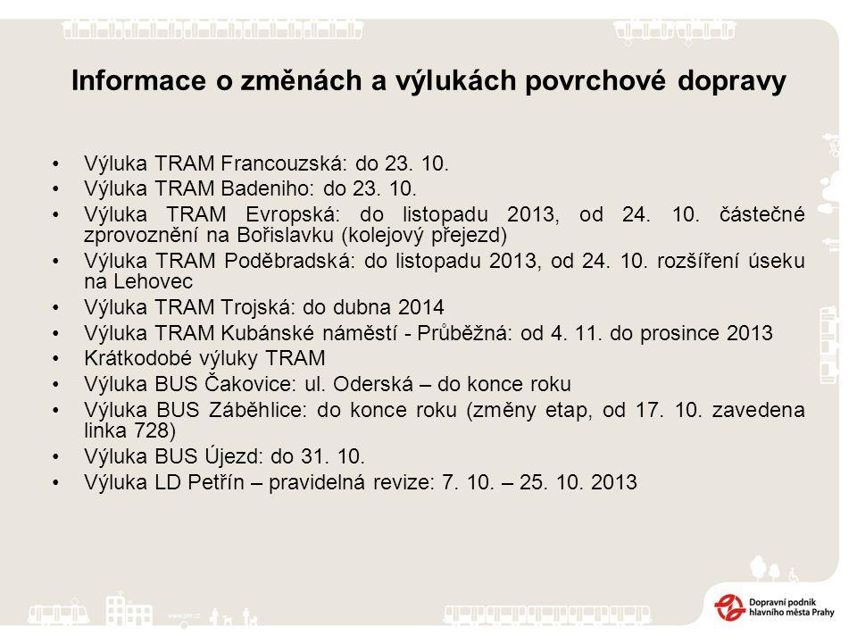 Informace o změnách a výlukách povrchové dopravy Výluka TRAM Francouzská: do 23.