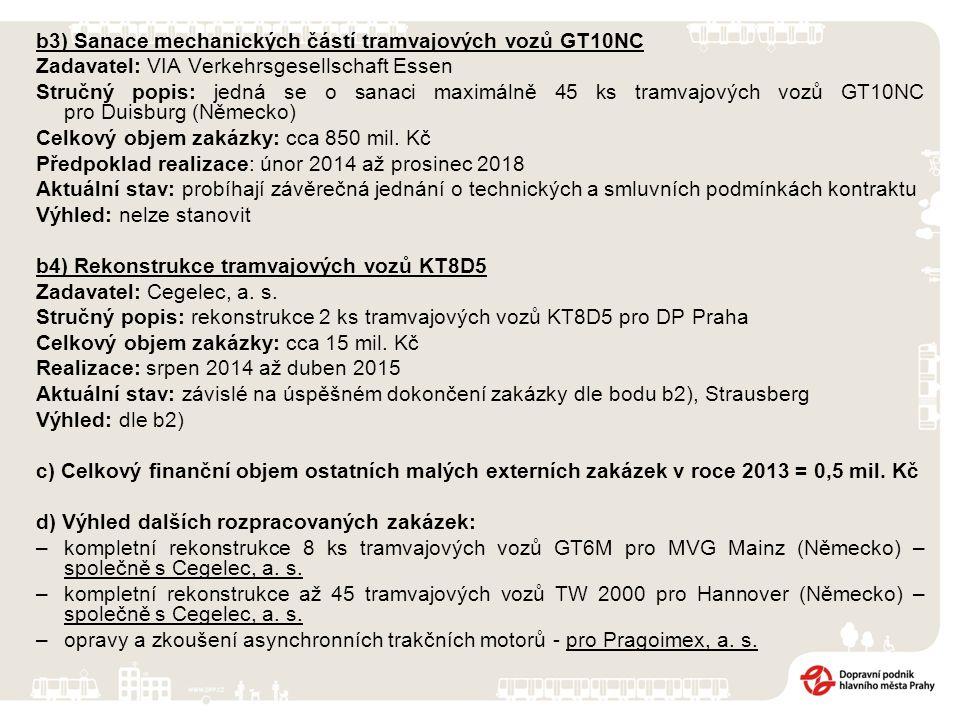 b3) Sanace mechanických částí tramvajových vozů GT10NC Zadavatel: VIA Verkehrsgesellschaft Essen Stručný popis: jedná se o sanaci maximálně 45 ks tramvajových vozů GT10NC pro Duisburg (Německo) Celkový objem zakázky: cca 850 mil.