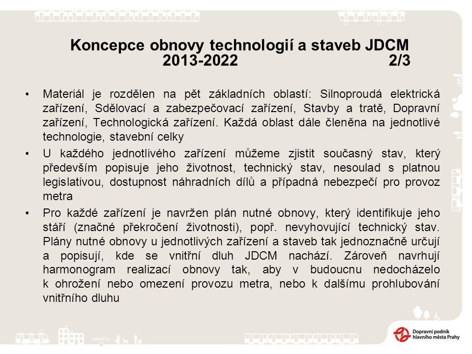 Koncepce obnovy technologií a staveb JDCM 2013-2022 2/3 Materiál je rozdělen na pět základních oblastí: Silnoproudá elektrická zařízení, Sdělovací a zabezpečovací zařízení, Stavby a tratě, Dopravní zařízení, Technologická zařízení.