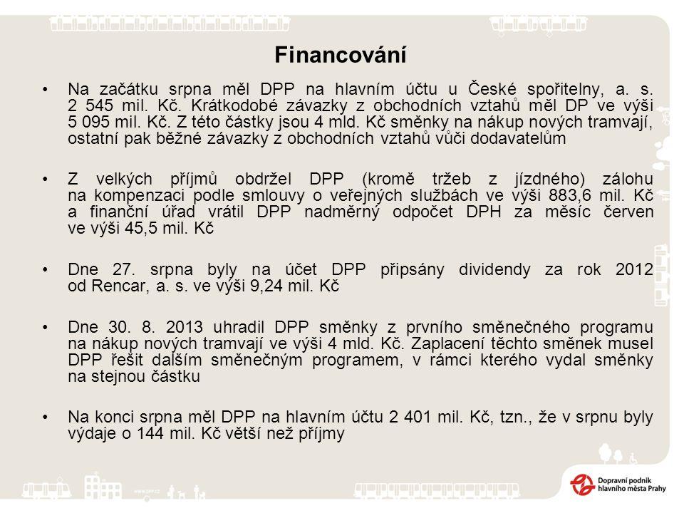 Financování Na začátku srpna měl DPP na hlavním účtu u České spořitelny, a.