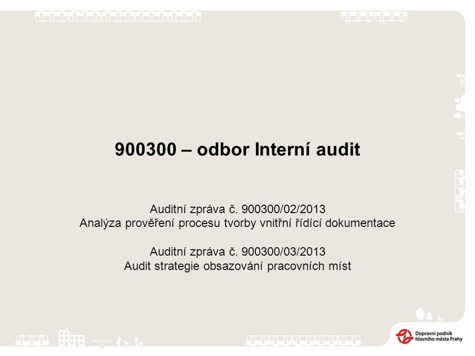 900300 – odbor Interní audit Auditní zpráva č.