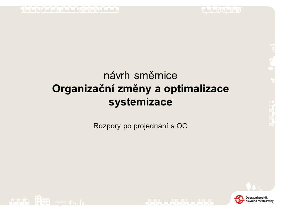 návrh směrnice Organizační změny a optimalizace systemizace Rozpory po projednání s OO