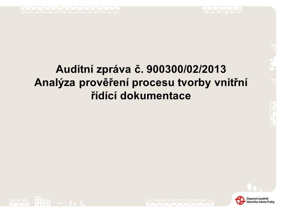 Auditní zpráva č. 900300/02/2013 Analýza prověření procesu tvorby vnitřní řídící dokumentace