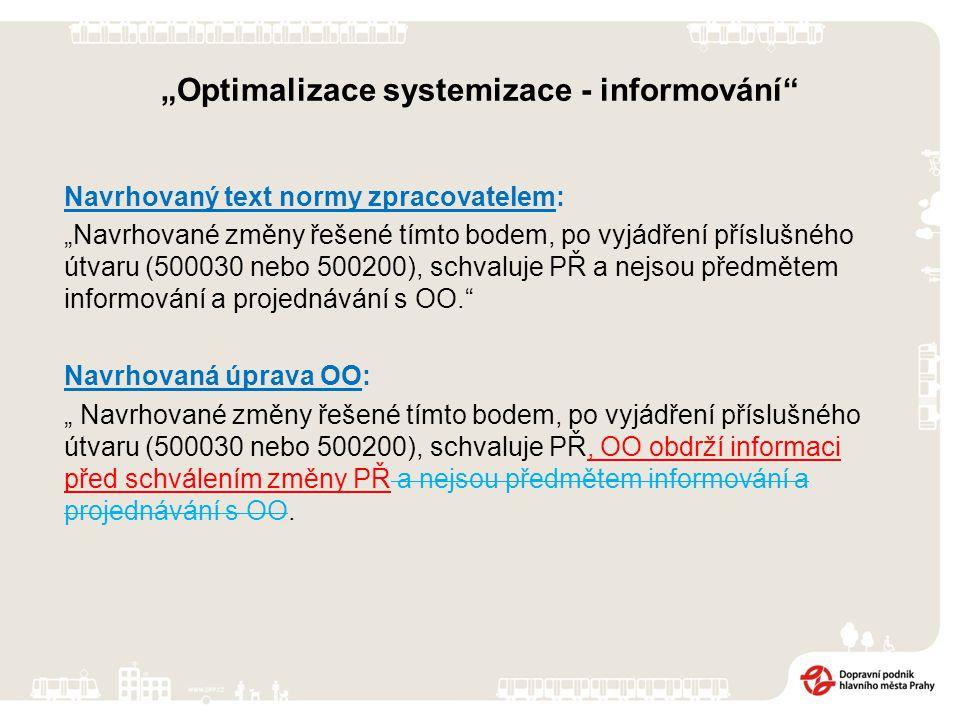 """""""Optimalizace systemizace - informování Navrhovaný text normy zpracovatelem: """"Navrhované změny řešené tímto bodem, po vyjádření příslušného útvaru (500030 nebo 500200), schvaluje PŘ a nejsou předmětem informování a projednávání s OO. Navrhovaná úprava OO: """" Navrhované změny řešené tímto bodem, po vyjádření příslušného útvaru (500030 nebo 500200), schvaluje PŘ, OO obdrží informaci před schválením změny PŘ a nejsou předmětem informování a projednávání s OO."""