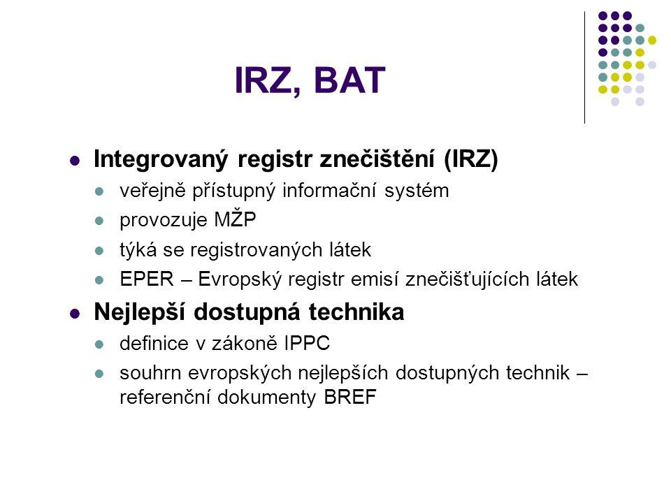 IRZ, BAT Integrovaný registr znečištění (IRZ) veřejně přístupný informační systém provozuje MŽP týká se registrovaných látek EPER – Evropský registr emisí znečišťujících látek Nejlepší dostupná technika definice v zákoně IPPC souhrn evropských nejlepších dostupných technik – referenční dokumenty BREF