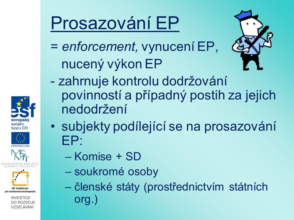 Prosazování EP = enforcement, vynucení EP, nucený výkon EP - zahrnuje kontrolu dodržování povinností a případný postih za jejich nedodržení subjekty p