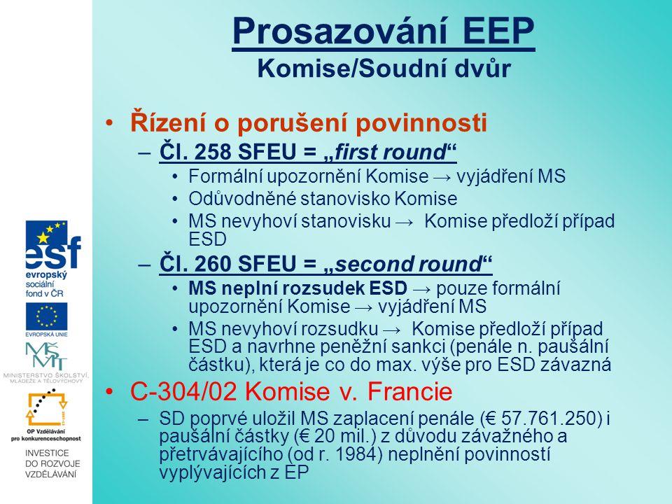 Prosazování EEP Soukromé osoby Na národní úrovni: Přímý účinek směrnic (C-41/74, C-8/81) Přístup k národním soudům Přístup k informacím Na evropské úrovni: Přístup k SD EU Přístup k informacím Stížnosti (EO, EP, EEA, Rada)