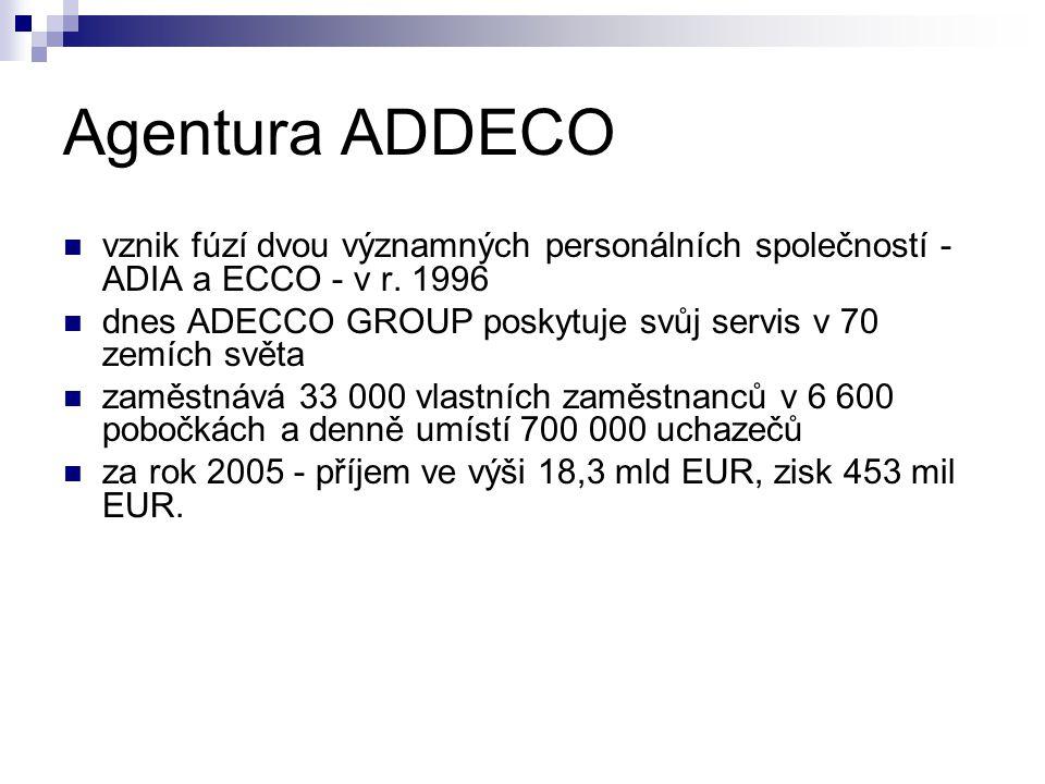 Agentura ADDECO vznik fúzí dvou významných personálních společností - ADIA a ECCO - v r. 1996 dnes ADECCO GROUP poskytuje svůj servis v 70 zemích svět