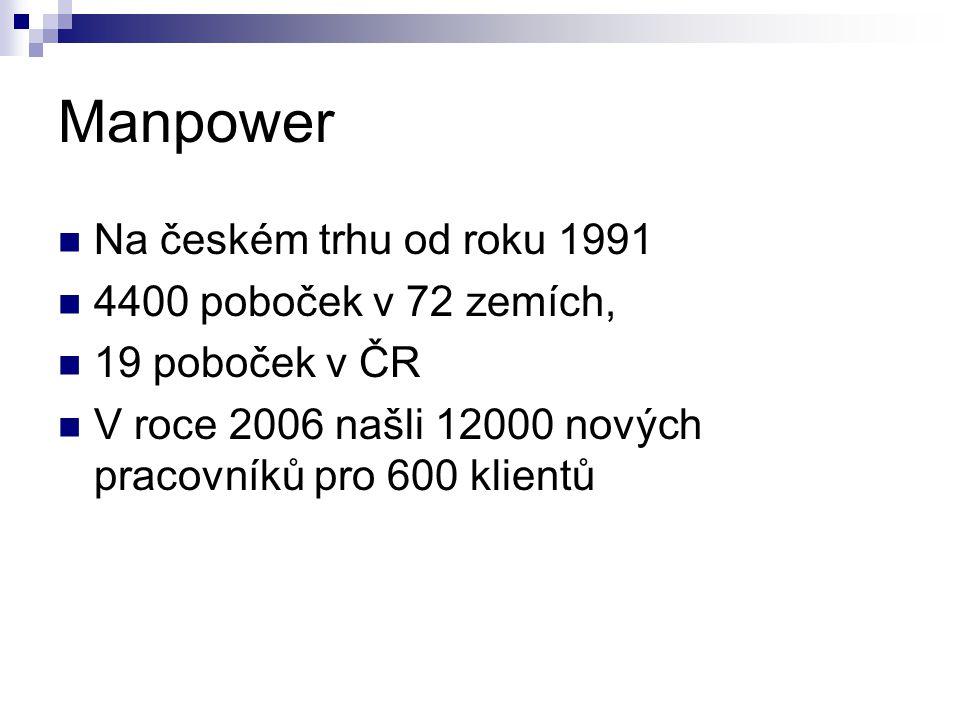 Manpower Na českém trhu od roku 1991 4400 poboček v 72 zemích, 19 poboček v ČR V roce 2006 našli 12000 nových pracovníků pro 600 klientů