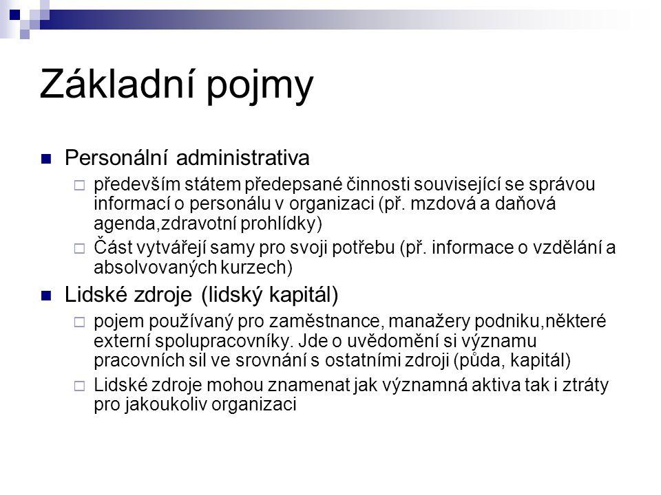 Základní pojmy Personální administrativa  především státem předepsané činnosti související se správou informací o personálu v organizaci (př.