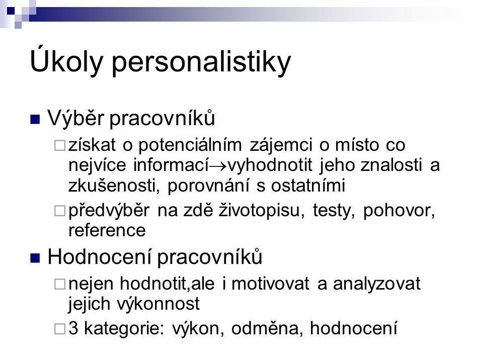 Úkoly personalistiky Výběr pracovníků  získat o potenciálním zájemci o místo co nejvíce informací  vyhodnotit jeho znalosti a zkušenosti, porovnání