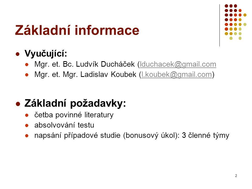 Základní informace Vyučující: Mgr. et. Bc.