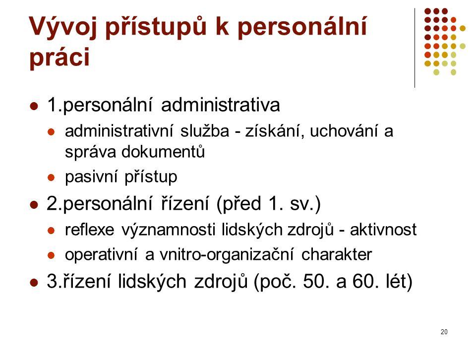 Vývoj přístupů k personální práci 1.personální administrativa administrativní služba - získání, uchování a správa dokumentů pasivní přístup 2.personální řízení (před 1.
