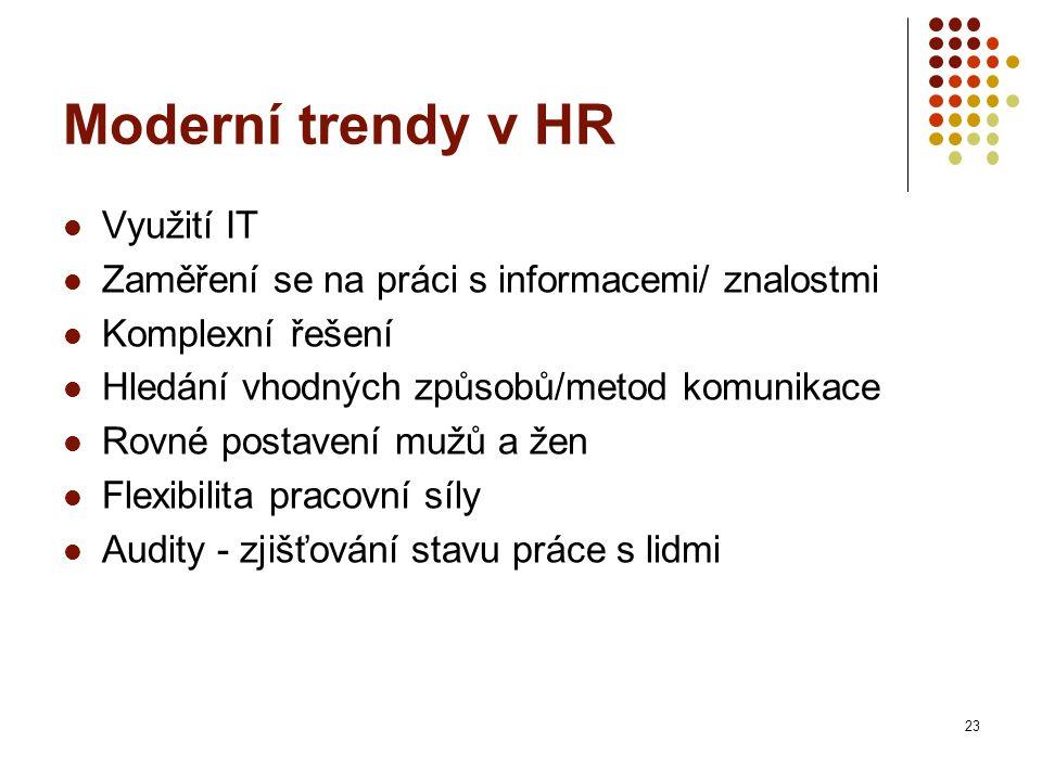 Moderní trendy v HR Využití IT Zaměření se na práci s informacemi/ znalostmi Komplexní řešení Hledání vhodných způsobů/metod komunikace Rovné postavení mužů a žen Flexibilita pracovní síly Audity - zjišťování stavu práce s lidmi 23