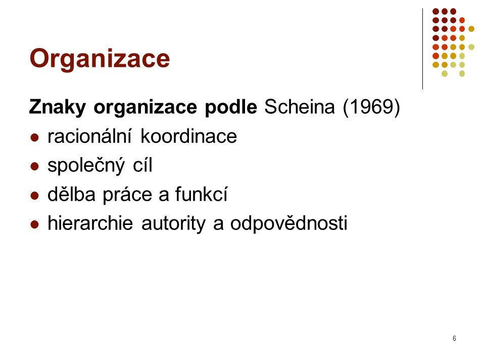 Organizace Znaky organizace podle Scheina (1969) racionální koordinace společný cíl dělba práce a funkcí hierarchie autority a odpovědnosti 6