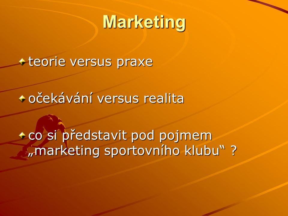 """Marketing teorie versus praxe očekávání versus realita co si představit pod pojmem """"marketing sportovního klubu ?"""
