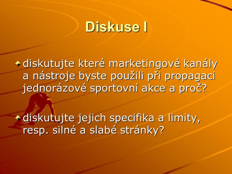 Diskuse I diskutujte které marketingové kanály a nástroje byste použili při propagaci jednorázové sportovní akce a proč.